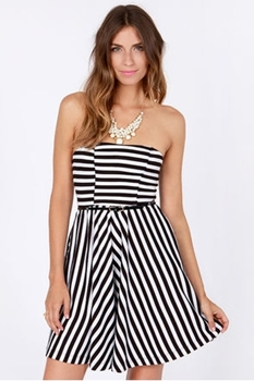 Fun-Liner Strapless Black and White Striped Dress