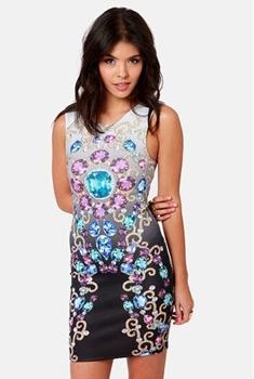 Gem Jewel Print Dress