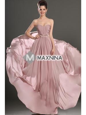Pleated Bust Chiffon Fabric Evening Dress