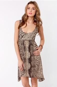 RVCA Drench Brown Snake Print Dress