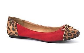 Red Leopard Print Trim Ballet Pumps