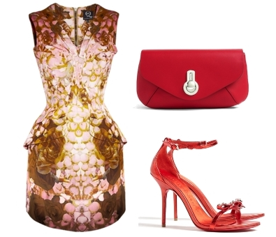 Rose Print Pleated Dress Party Look