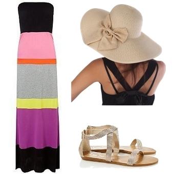 Stripe Bandeau Maxi Dress