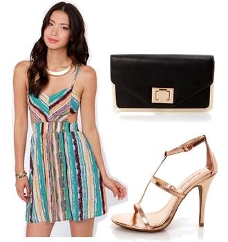 Teal Striped Cutout Dress
