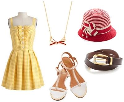 Yellow Checked Retro Dress