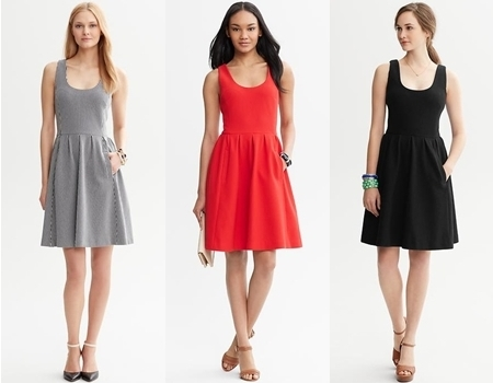 banana republic fit and flare dresses
