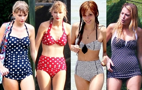 celebrities wearing retro swimsuits