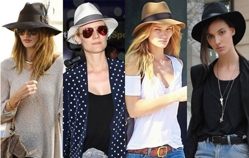 fashion models wearing fedora hat