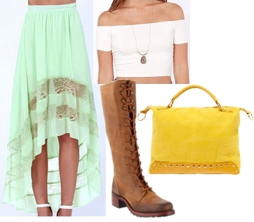 lace up tall boots with hi-low skirt