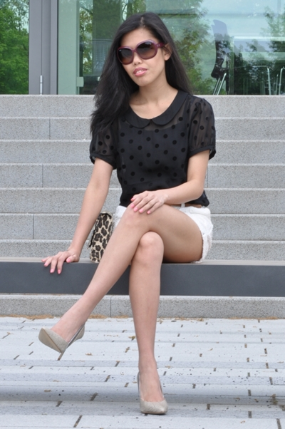 polka dot top with lace shorts