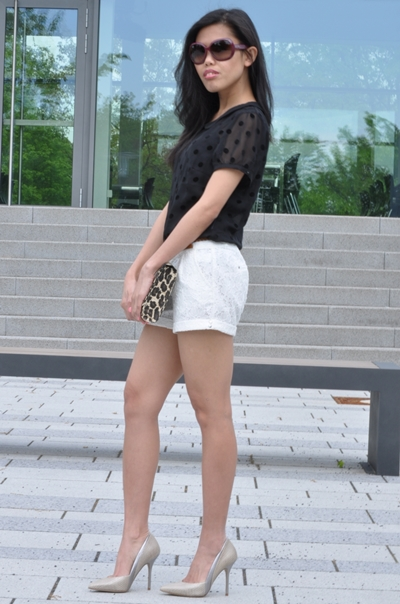 polkat top with lace shorts