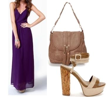 purple backless maxi dress