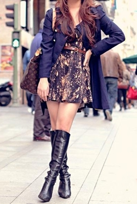 Black Tall Boots with Short Dress