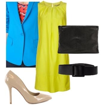 Blue Jacket Over Yellow Dress