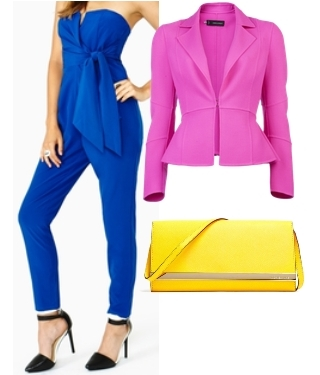 Blue Jumpsuit and Pink Blazer Outfit