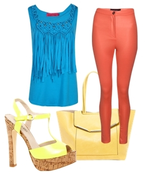 Blue Tassle Tank Top and Orange Pants