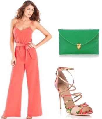 Bright Coral Elegant Summer Jumpsuit