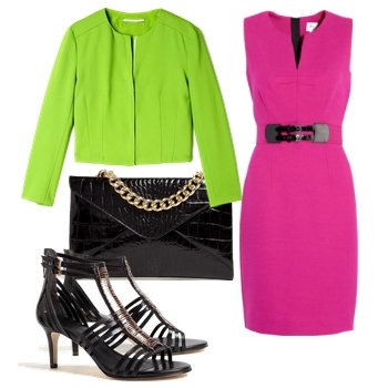 Neon Green Jacket with Pink Dress