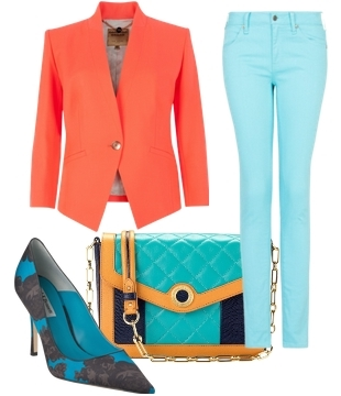 Neon Orange Blazer and Topaz Jeans for Summer
