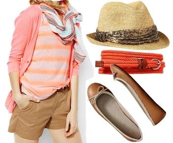 Neon Peach Summer Outfit
