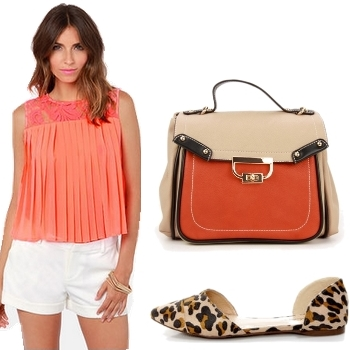 Pleated Neon Coral Top