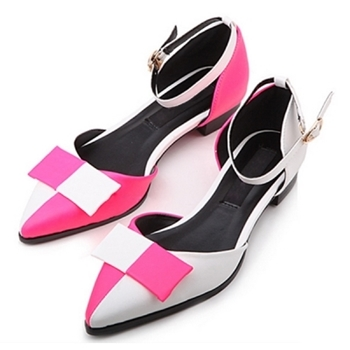 Vintage Color Block Flats with Bow Detail
