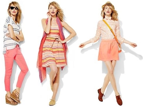 bright coral outfits for summer