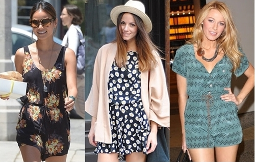 celebrities wearing printed romper
