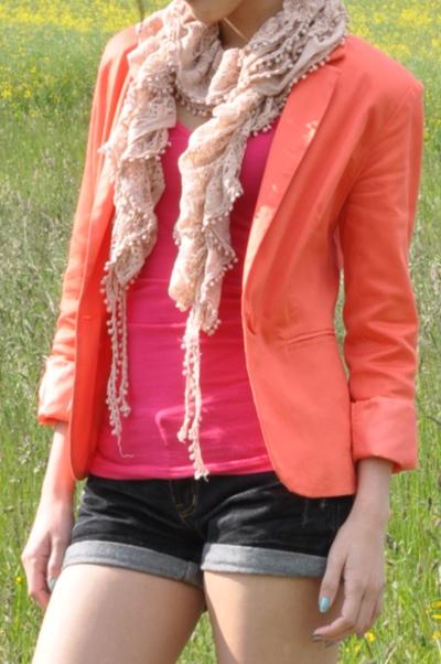 colorblock orange blazer and pink top
