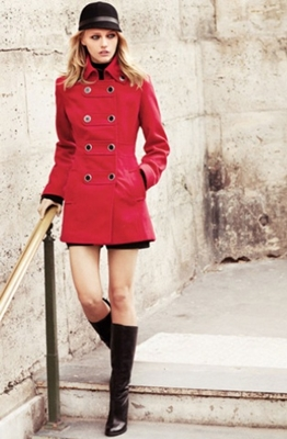 military jacket with black tall boots