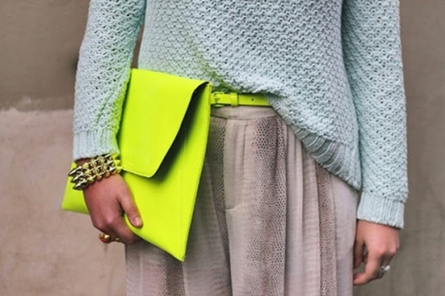 neon clutch and neon belt