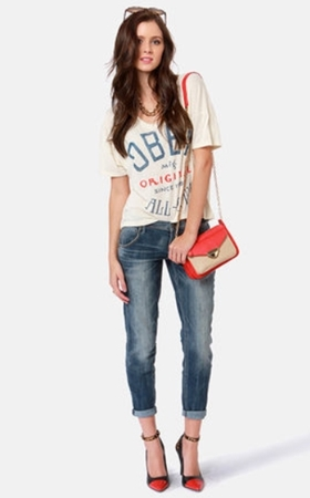 Straight Leg Destroyed Boyfriend Jeans