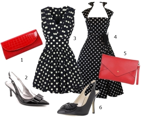 Polka dot dress with black sling back heels
