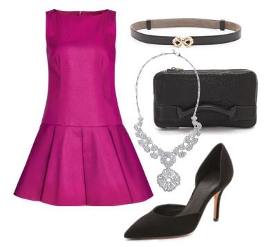Red Valentino Purple Flare Dropped Waist Dress