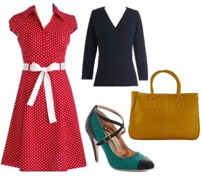 Vintage red dress for work
