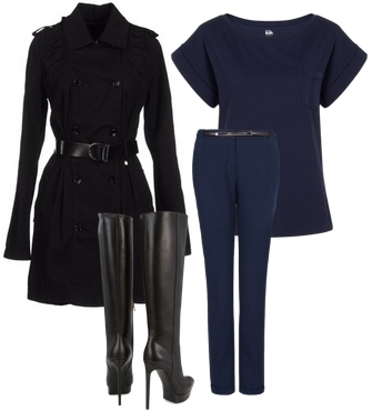 black and navy ensemble