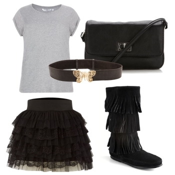 black fringed ankle boots outfit