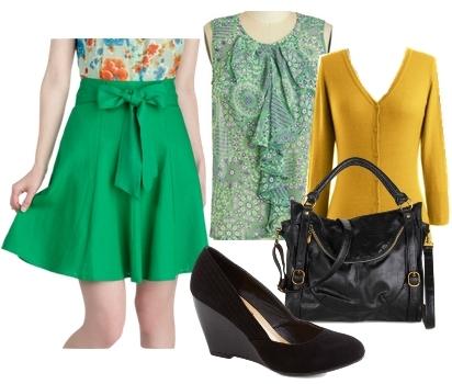 bright green linen skirt for work