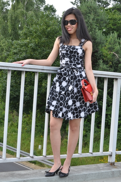 cute polka dot fiat and flare dress