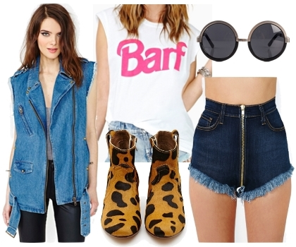 denim vest with denim shorts