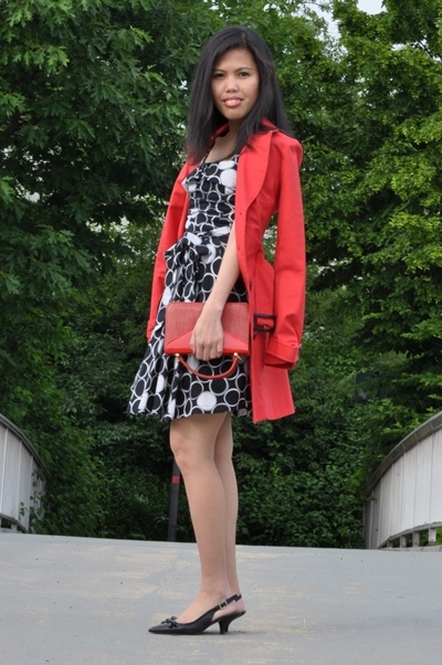 dotted fit and flare dress with red cape coat