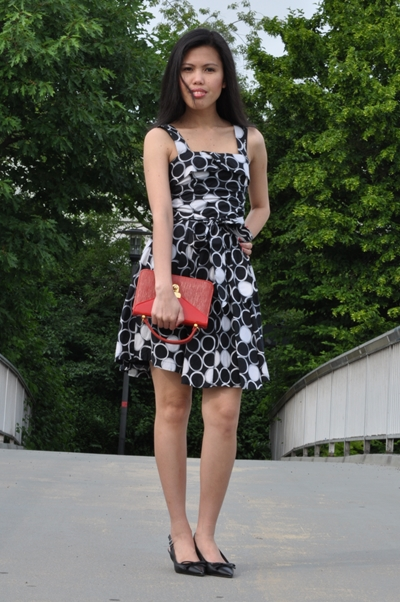 dotted fit and flare dress