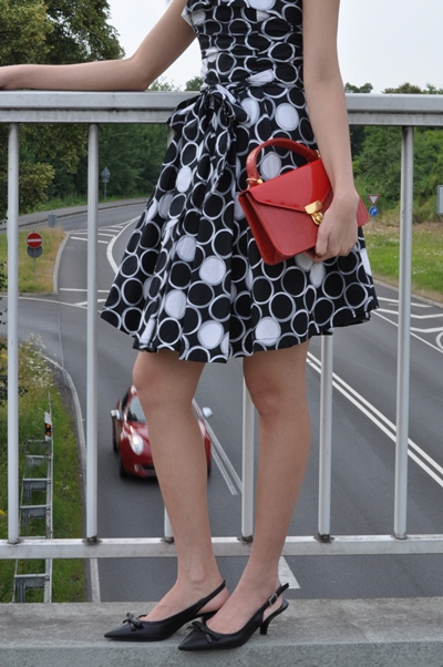 gorgeous polka dot fit and flare dress