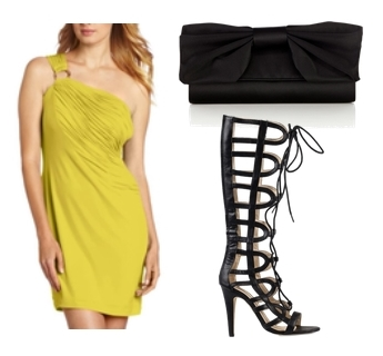 knee length gladiator sandals with bright dress