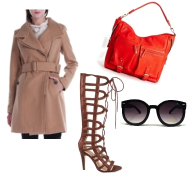 knee length gladiator sandals with trench coat