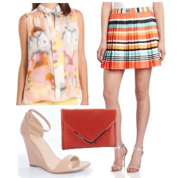lighweigth shirt and printed skirt4