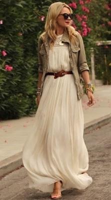 maxi dress with safari jacket