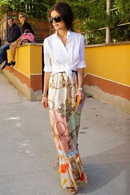 maxi dress with white button down shirt