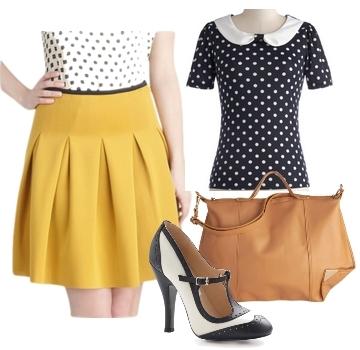 mod yellow vintage skirt for work