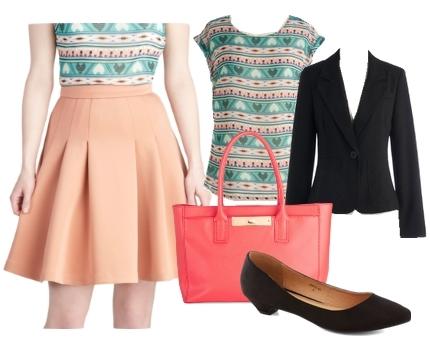 pleated peach skirt for work